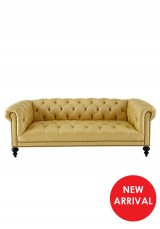 Benita Leather Button Sofa 3 seater - Full leather